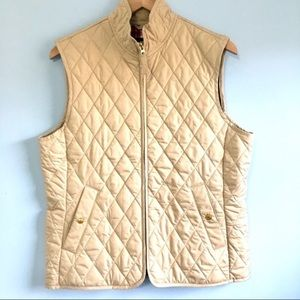 Land's End tan quilted puffer  vest with pockets M